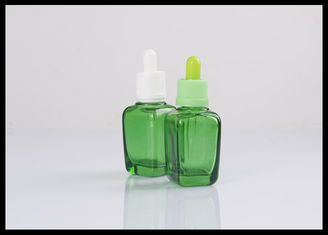 China Essential Oil Glass Dropper Bottle 30ml  Cosmetic  Amber Square Green Bottle supplier