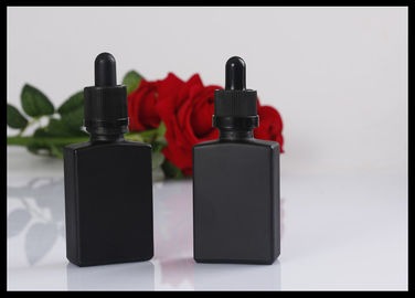 China Black Matte Glass Bottles Square Essential Oil Droppe Bottle Frosted Glass Bottles supplier