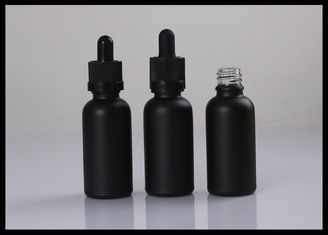 China Matte Black Frosted Essential Oil Glass Bottles Cosmetic Liquid Containers supplier
