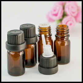 China 10ml Brown Essential Oil Glass Bottles With Anti Theft Black Head Inner Plug supplier