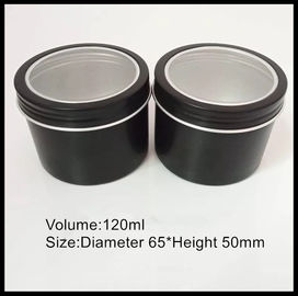 China Durable Aluminum Cosmetic Containers 120g Cream Jar Black Metal Tin Cans Screw Cap supplier