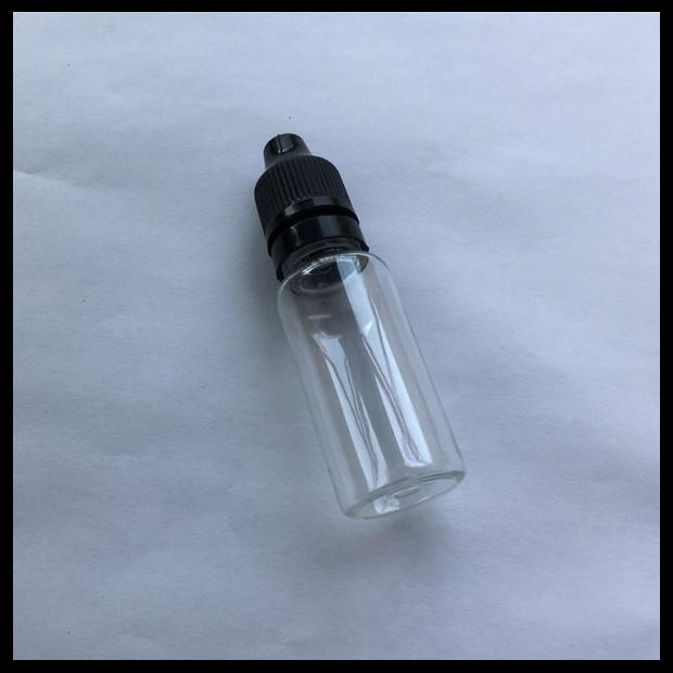 Transparent PET E Liquid Bottles 15ml Long Thin Tip Dropper With Childproof Tamper Cap