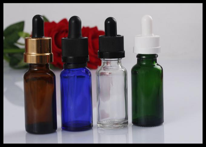 Small Amber 20ml Essential Oil Glass Bottles Round Shape For Tincture E Liquid