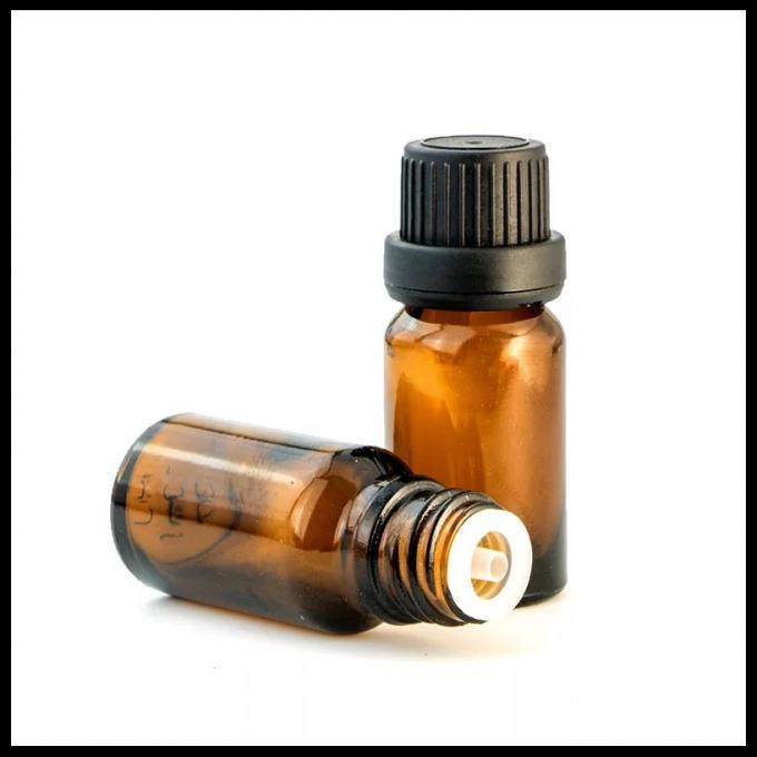 10ml Brown Essential Oil Glass Bottles With Anti Theft Black Head Inner Plug