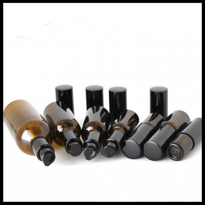 Brown Color Essential Oil Glass Dropper Bottle Black Pump For Cosmetic Lotion